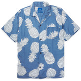 Beams Aloha Camp-collar Pineapple-print Voile Shirt - Blue
