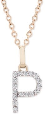 """Macy's Diamond Initial Pendant Necklace (1/10 ct. t.w.) in 14k Gold, 18"""" + 2"""" Extender"""