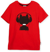 Karl Lagerfeld Choupette w/ Headphones Jersey Tee, Red, Size 6-10