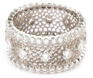 Buccellati 'Nuovo Tulle' diamond 18k white gold openwork ring