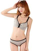 Bestgift Women's Cotton Strap Bra Underwear Dark Grey L
