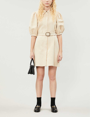 Sandro Puffed-sleeves cotton and linen-blend mini dress