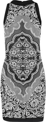 Balmain Paneled Open And Jacquard-knit Mini Dress