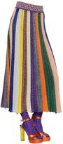 Missoni Striped Wool & Lamé Blend Rib Knit Skirt
