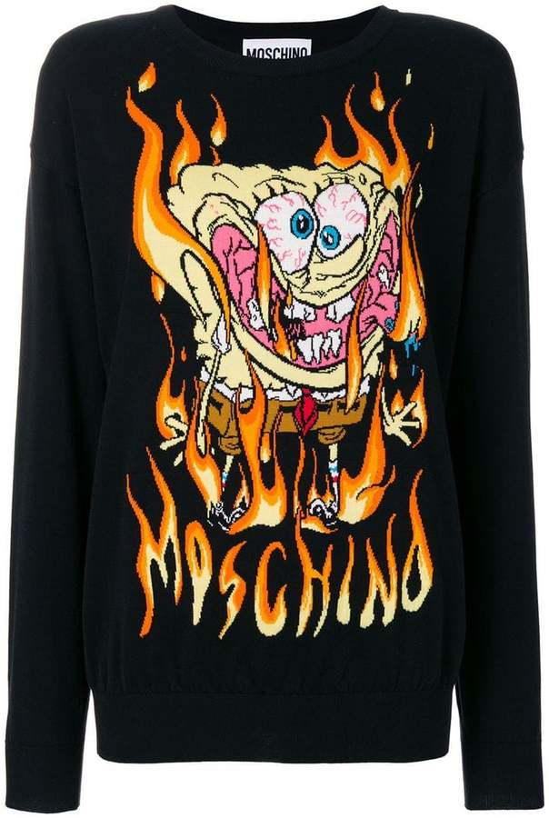 Moschino embroidered SpongeBob sweater
