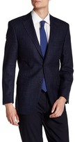 Ike Behar Blue Check Double Button Notched Lapel Jacket