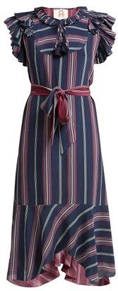Figue Tessa Asymmetric Striped Silk Midi Dress - Blue Multi
