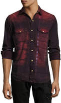 Robin's Jeans Tie-Dye Denim Western Shirt with Wings