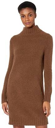 J.Crew Mock Neck Sweaterdress (Heather Dark Walnut) Women's Clothing