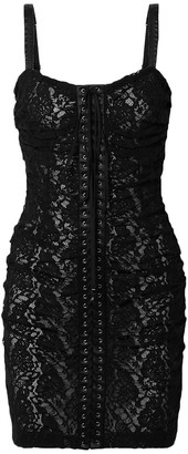 Dolce & Gabbana Lace-up Satin-trimmed Stretch-lace Mini Dress