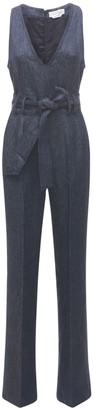 Gabriela Hearst Lenox Linen Denim Jumpsuit W/ Belt
