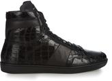 Saint Laurent Crocodile-effect high-top leather trainers