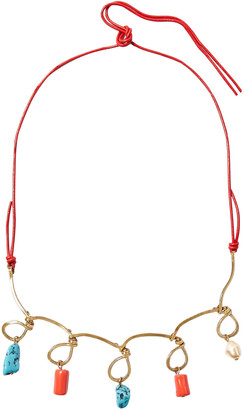 Marni Gold-tone, Leather, Resin And Faux Pearl Necklace