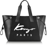 Kenzo Paris Signature Black Canvas and Perforated Eco Leather Large Tote Bag