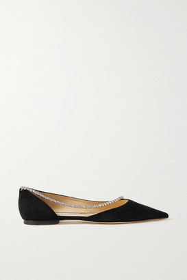 Jimmy Choo Trude Crystal-embellished Suede Point-toe Flats - Black