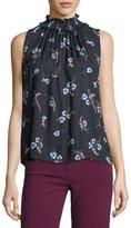 Rebecca Taylor Natalie Sleeveless Floral-Print Silk Top