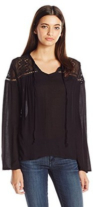 Jolt Women's Long Sleeve Tie Front Top with Keyhole Back