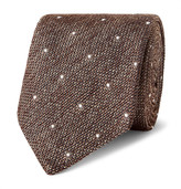 Richard James 8cm Polka Dot-Embroidered Silk-Délavé Tie