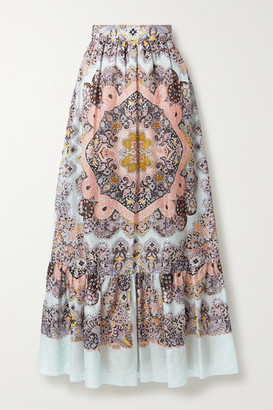 Etro Paisley-print Cotton And Silk-blend Voile Maxi Skirt - Light blue