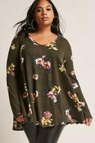 Forever 21 FOREVER 21+ Plus Size Floral Waffle Knit Tunic