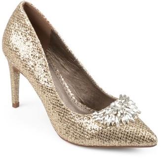Brinley Co. Women's Faux Leather Jewel Pointed Toe Glitter Heels