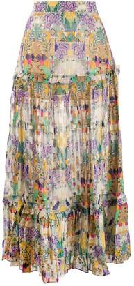 CHUFY Inka print maxi tiered skirt