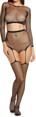 Hauty Fishnet Long Sleeve Crop Top & Pantyhose Set