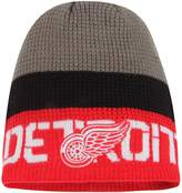 Reebok Men's Gray/Red Detroit Red Wings Center Ice Uncuffed Knit Beanie