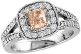 Zales 1 CT. T.W. Pink Cushion-Cut and White Diamond Split Shank Engagement Ring in 18K White Gold