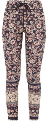 The Upside Paisley-print Stretch-jersey Cropped Leggings - Womens - Blue Multi