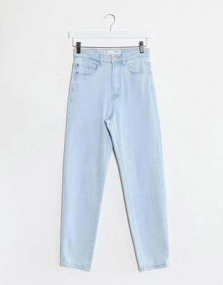 Stradivarius slim mom jean with stretch in light blue wash