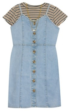 Rare Editions Big Girl Denim Button Down Dress With Rib Knit Top