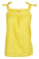 Dorothy Perkins Womens **Tall Yellow Broderie Camisole Cotton Top, Yellow