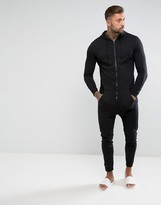 Asos Lightweight Skinny Onesie In Black