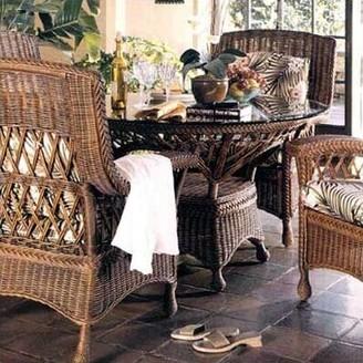 Yogyakarta Dining Table South Sea Rattan Color: Whitewash