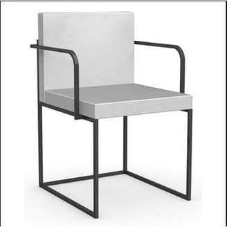 Calligaris Even Plus Metal Arm Chair Frame Finish: Chromed, Upholstery: Taupe