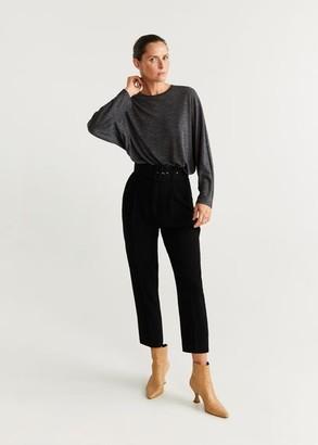 MANGO Flecked T-shirt dark heather grey - M - Women