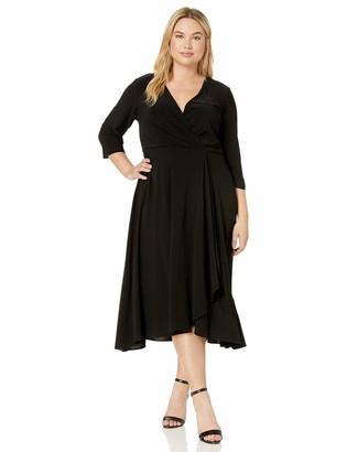 Taylor Dresses Women's Plus Size Elbow Sleeve Faux wrap Dress