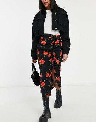 Miss Selfridge midi skirt in bloom floral