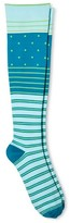 Skinergy Women's Mild Compression Knee High Socks - Stripe/Dot - Turquoise One Size Fits Most