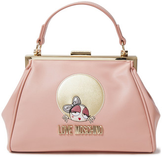 Love Moschino Embellished Embroidered Faux Leather Tote