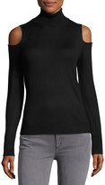 T Tahari Turtleneck Cold-Shoulder Sweater, Black