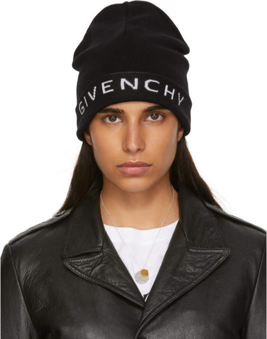 Givenchy Black Wool Logo Beanie