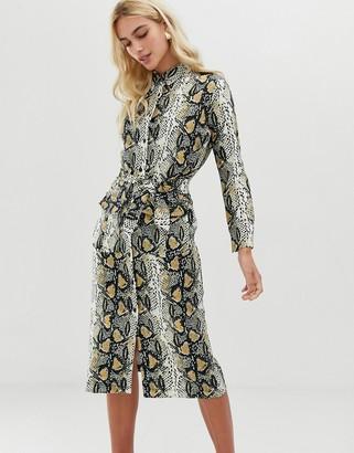Zibi London snake print shirt midi dress with belt detail