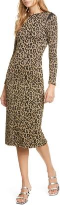 Le Superbe Kate Metallic Leopard Jacquard Long Sleeve Dress