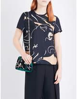 Valentino Panther-print silk-twill top