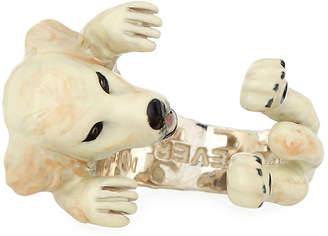 Golden Retriever Dog Fever Enameled Dog Hug Ring, Size 7