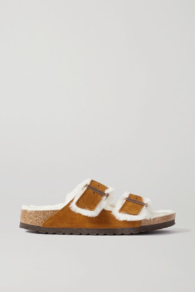 Birkenstock Arizona Shearling-lined Suede Sandals - Tan