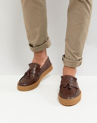 Asos Design ASOS Loafers In Brown Leather With Tassel And Gum Sole