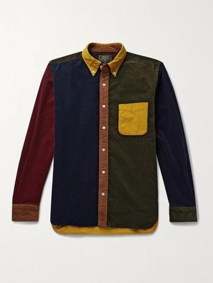 Beams Button-Down Collar Colour-Block Cotton-Corduroy Shirt